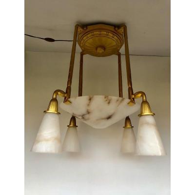 Art Deco Bronze Chandelier Signed P Gagnon