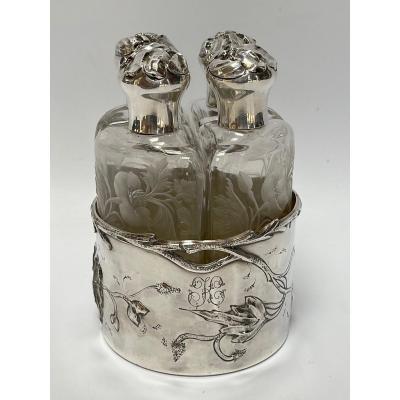 Nécessaire à Parfum Argent 4 Flacons Art Nouveau