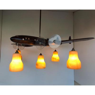 Lustre Art Déco  Avion En Bois Sculptés 5 Lumières
