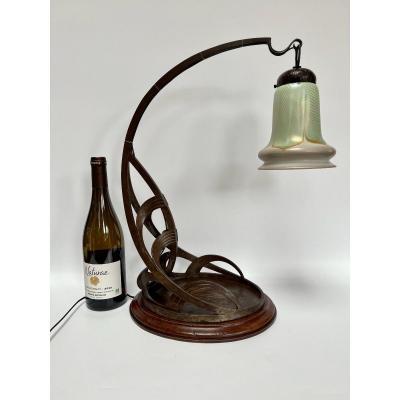 Lampe Art Nouveau Fer Forgé Et Tulipe Quezal