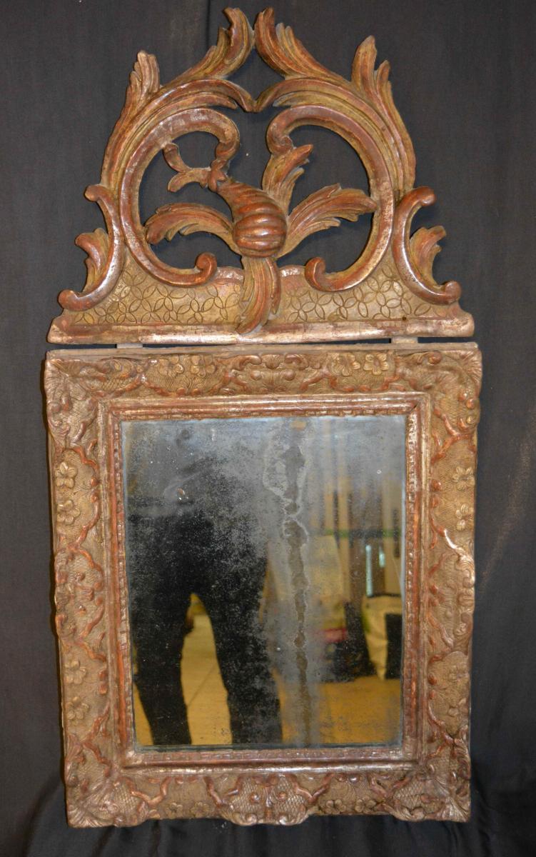 Miroir  Avec Fronton Argente