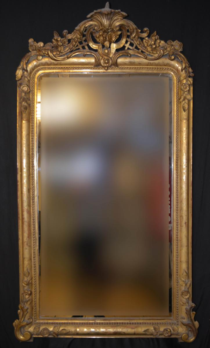 Mirror Louis Philippe With Gilded Wood Front And Stucco