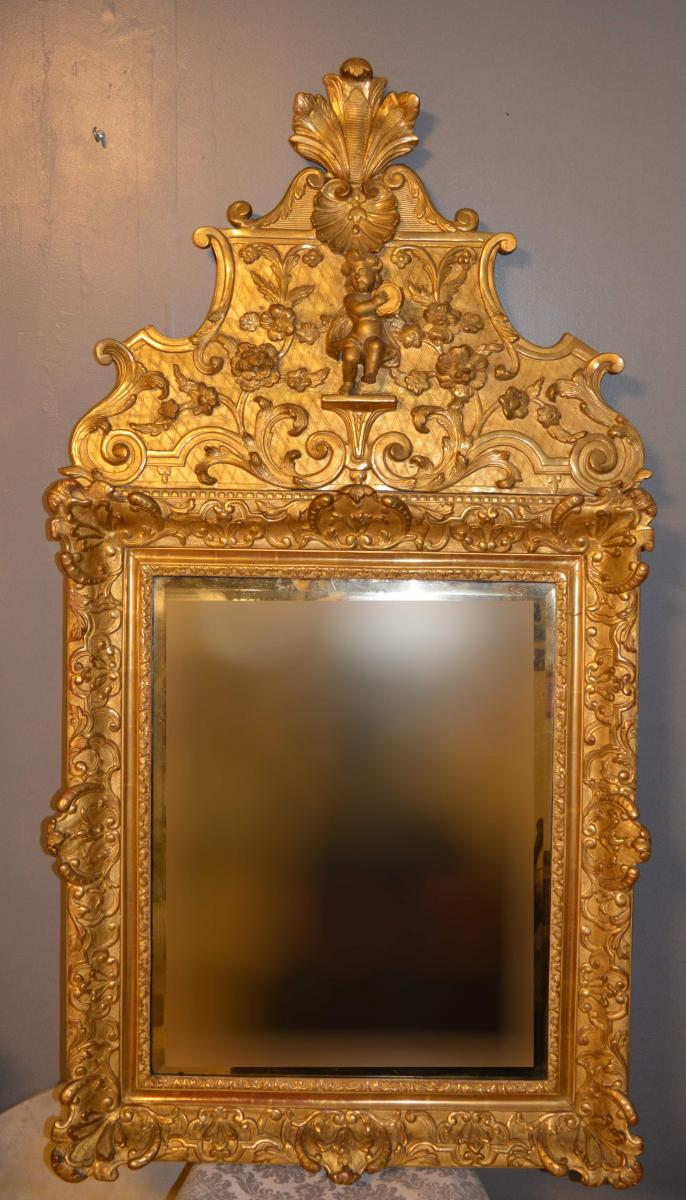 Carved Wood Pediment Mirror