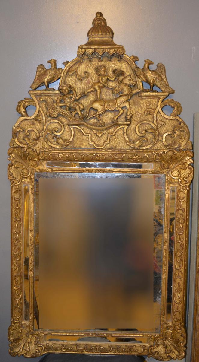 Miroir d'époque Louis XIV En Bois Doré