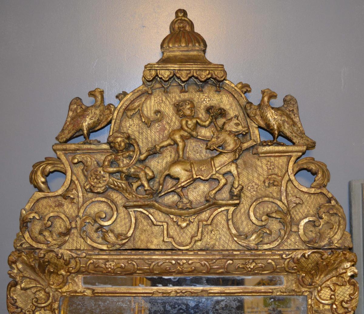 Miroir d'époque Louis XIV En Bois Doré-photo-2