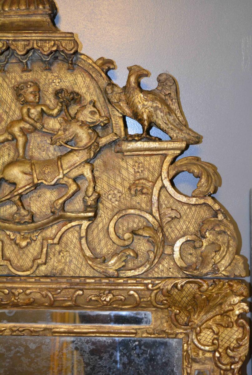 Miroir d'époque Louis XIV En Bois Doré-photo-4