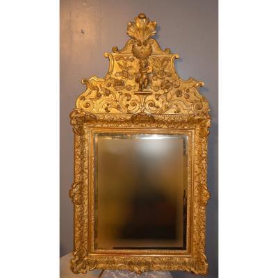 Miroir à Fronton En Bois Sculpté