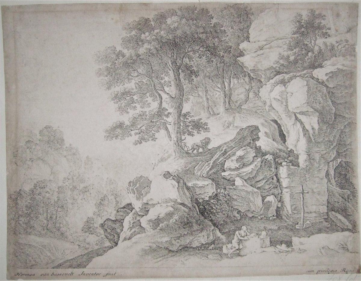 Hermen Van Swanevelt - St Jerôme Dans Le Désert - Eau-forte