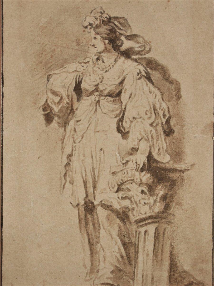 Etude d'Une Femme Debout . Ecole Du Nord, Vers 1700.