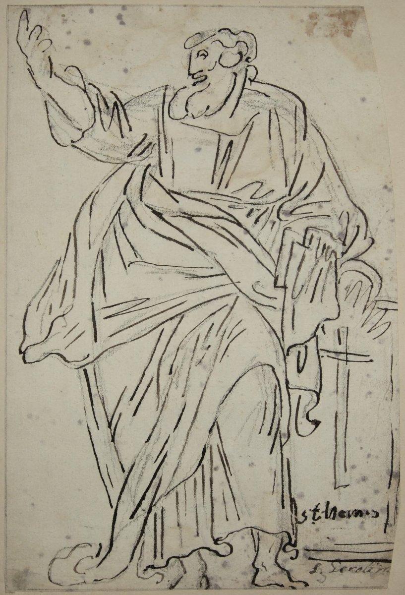 Study Of A Standing Saint Man. 18th.