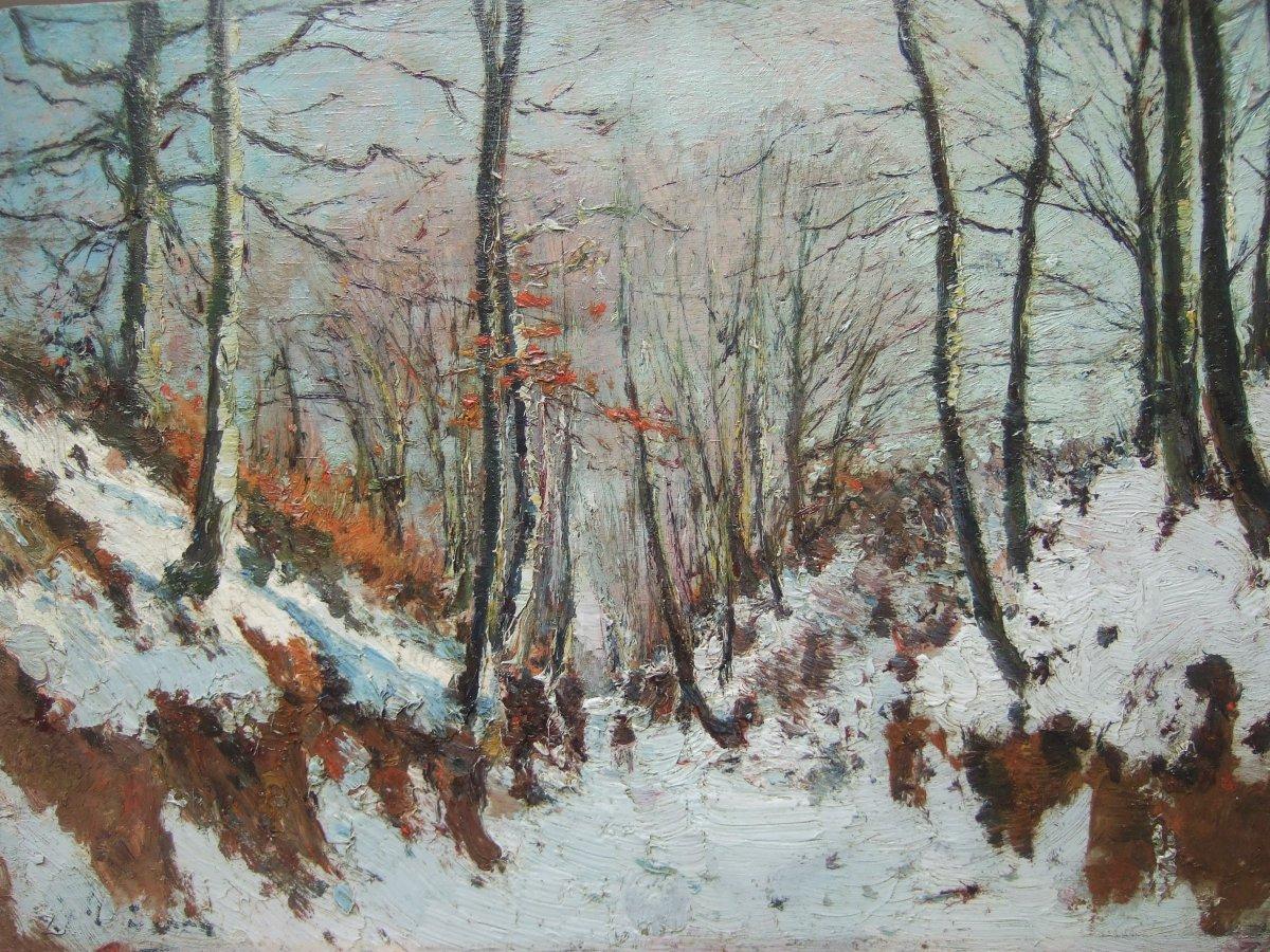 Joseph Caron - Vue Hivernale En Forêt . Signé.