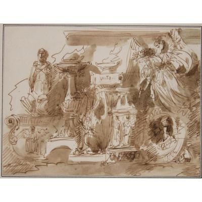 Giuseppe Bernardino Bison 1762-1844- Cappriccio Avec Objets Antiques