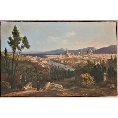 View Of Florence - Gouache On Engraved Traits -