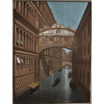 View Of The Bridge Of Sighs In Venice - Gouache On Engraved Lines -