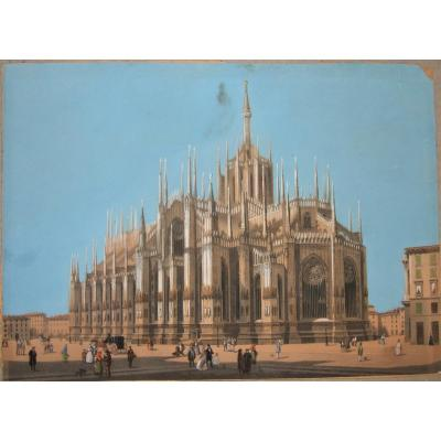 Animated View Of The Duomo Of Milan Seen From The Back - Gouache On Engraved Lines -