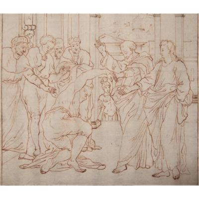 Drawing Around 1600, Squared For Transfer- Scene Of Healing. Probably Flemish