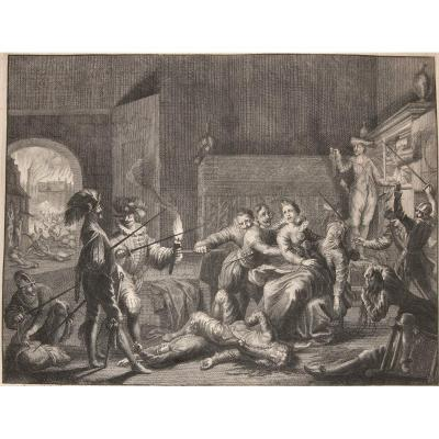 Jan Luyken . Spaniard Cruelty In The Sacking Of Antwerp In 1576.