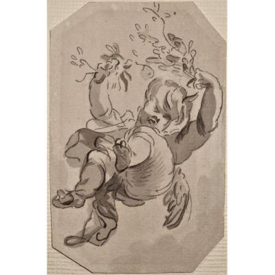Lovely Little Drawing - Putto Flying - 18th.