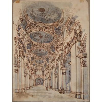 Interior Of A Palace. Drawing In The Style Of Galli Bibiena On Laid Paper, 19th.