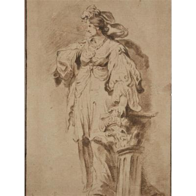 Study Of A Standing Woman. Northern School, Around 1700.