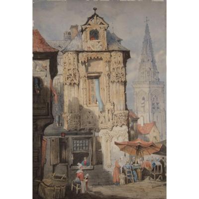 Vue De Ville - Vers 1900 - Aquarelle