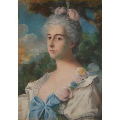 Portrait De Dame - Pastel -  19è - 58 X 40,3 Cm
