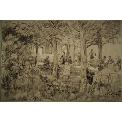 """Nicolaas Van Der Waay - Projet pour son tableau """" Après-concert au Jardin d'Artis Royal""""- signé"""