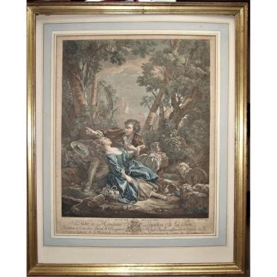 François Boucher. Le Gouter De l'Automne, Gravé Par Gaillard, Vers 1800, encadrée