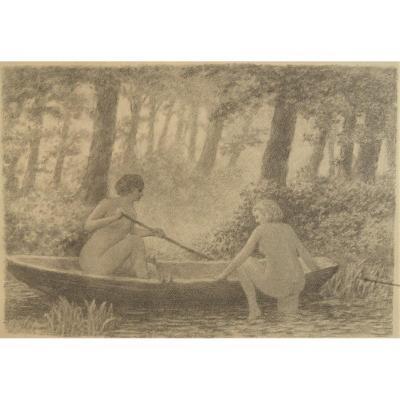 Ecole Symboliste. Vers 1920 . Deux Baigneuses Dans Une Barque. Fusain Sur Papier.