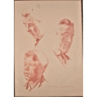 Olivier Duchateau- Study Sheet In Red Chalk - Three Portraits. Framed. Around 1900