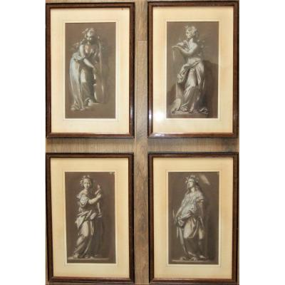 Lot Of 4 Drawings Representing The Arts. Around 1800. Framed