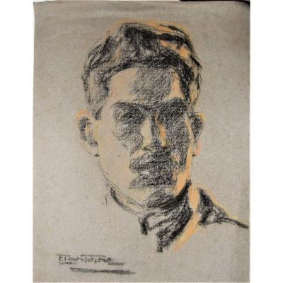 Fernand Lantoine. Portrait Of Young Man - Maybe A Self-portrait ? Luminist Period.