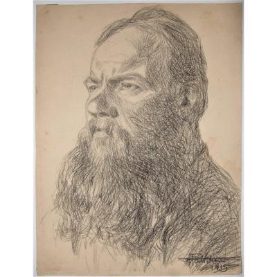Fernand Lantoine. Portrait Of Moujik - Signed & Dated 1915. Ww1