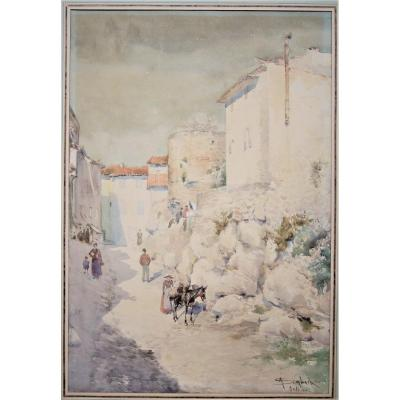 Auguste Sembach - Animated View Of Antibes. Signed Watercolor. Large Format . Framed.