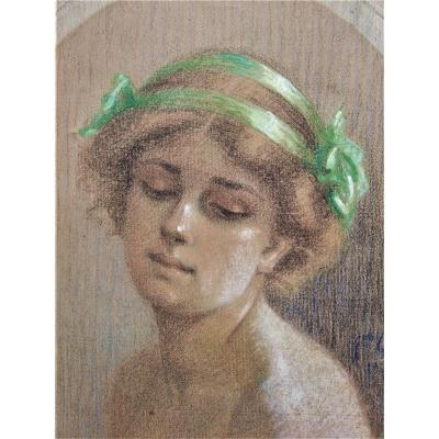 Portrait Of Young Woman. Signed Quinaux. Pastel. Framed.