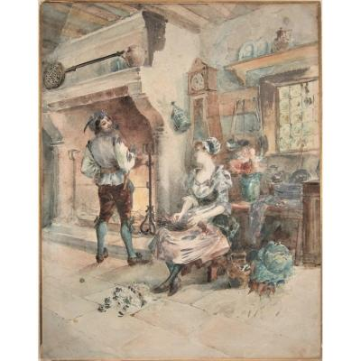 Couple In An Interior . Watercolor Signed G.germain. 19th . Framed