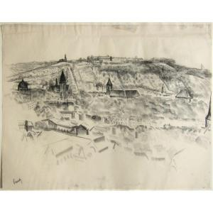 Willem Paerels. Pair Of Charcoals: Two Views Of Liège. Large Formats