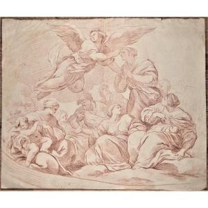 Ecole Française, Vers 1700proche De Natoire. Grand Format. Filigrane fleur de lys encerclé.