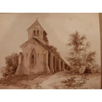 Watercolor Representing A Church In The Countryside