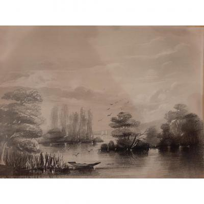 Enhanced Lithograph Representing A Landscape By The Water