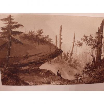 Watercolor On Paper Representing A Country Landscape (sepia)
