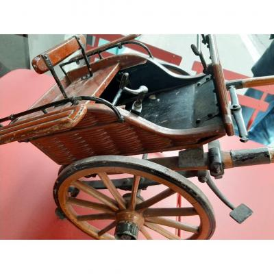 Miniature Carriage In Wood, Iron And Mechanism
