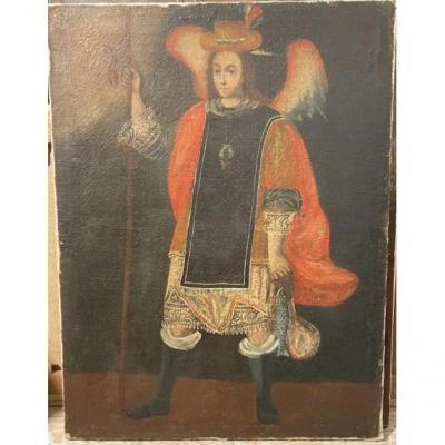 Archange. École De Cuzco. Pérou. Siècle XVIII. Robe Métisse Intéressante.