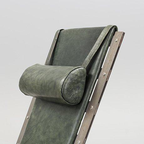 Chaise Longue Design Suedois Acier et cuir box vert-photo-4