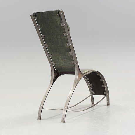 Chaise Longue Design Suedois Acier et cuir box vert-photo-2