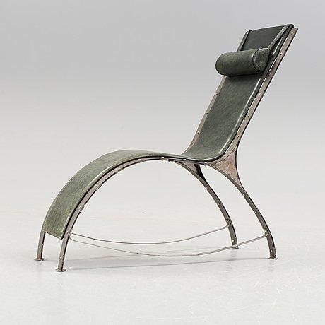 Chaise Longue Design Suedois Acier et cuir box vert