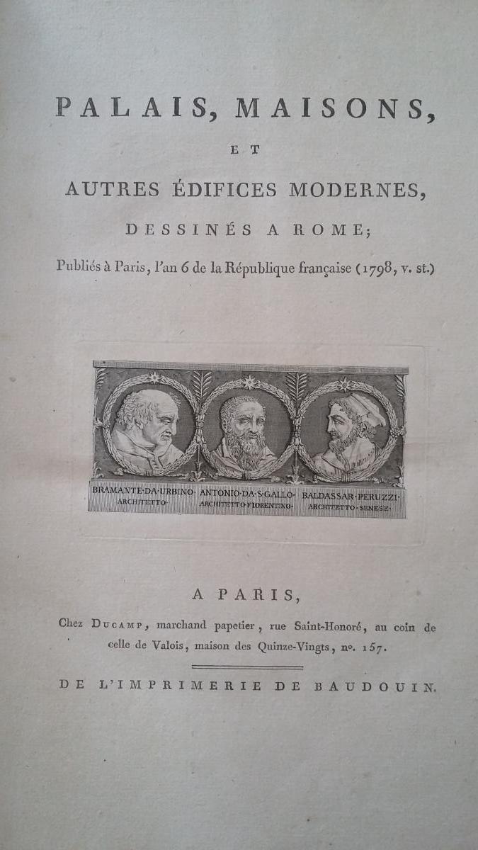 Percier et Fontaine ,Volume Architecture Palais Romains Fin XVIII