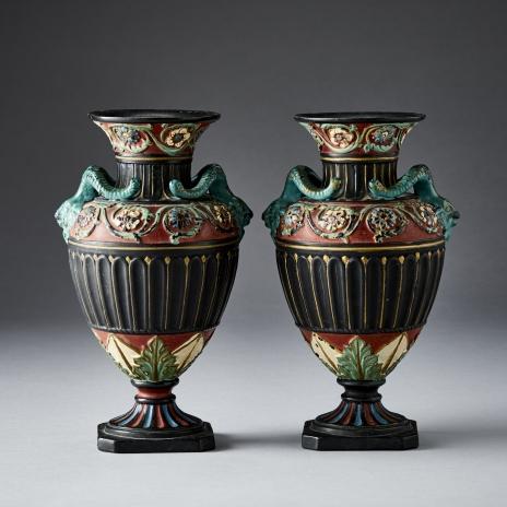 Paire De Vases Neoclassiques Terre Cuite Peinte
