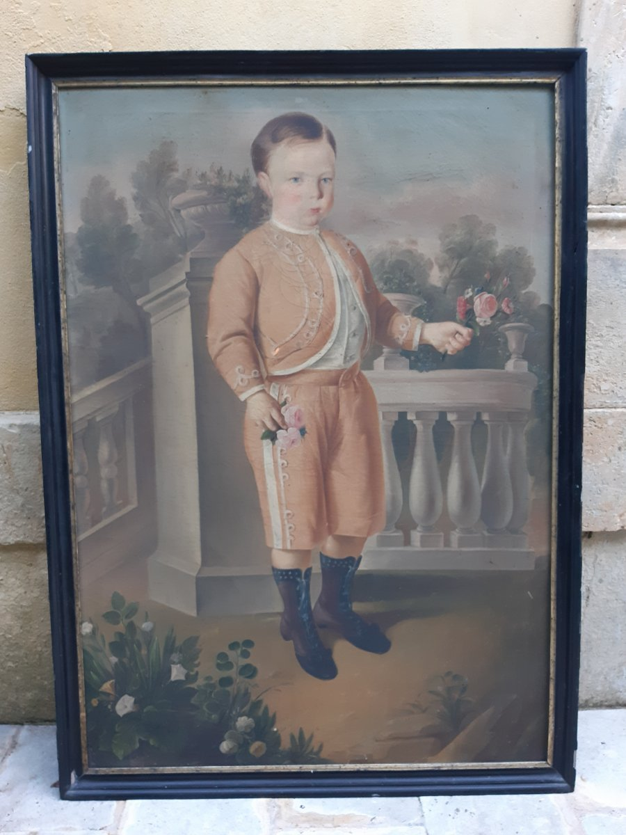 Large Portrait Of Child Sicily Early 19th