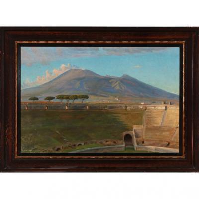 Hst. Vue De l'Amphithéatre De Pompeï  . Peintre Danois 1921
